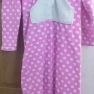 Pajama Onesie Pink With White Polka Dots M